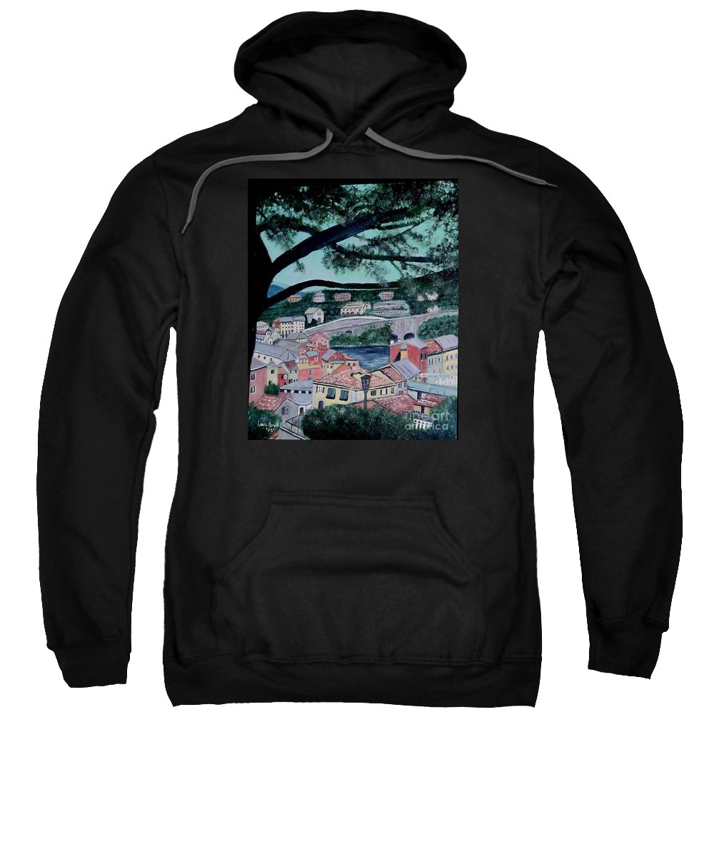 Italy Sweatshirt featuring the painting Sestri Levante by Laurie Morgan