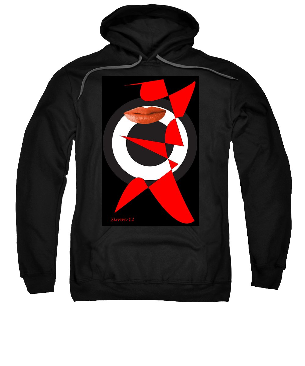 Red White Black Sweatshirt featuring the digital art Sexy Lips Black Red White Black Expressions by Sirron Kyles