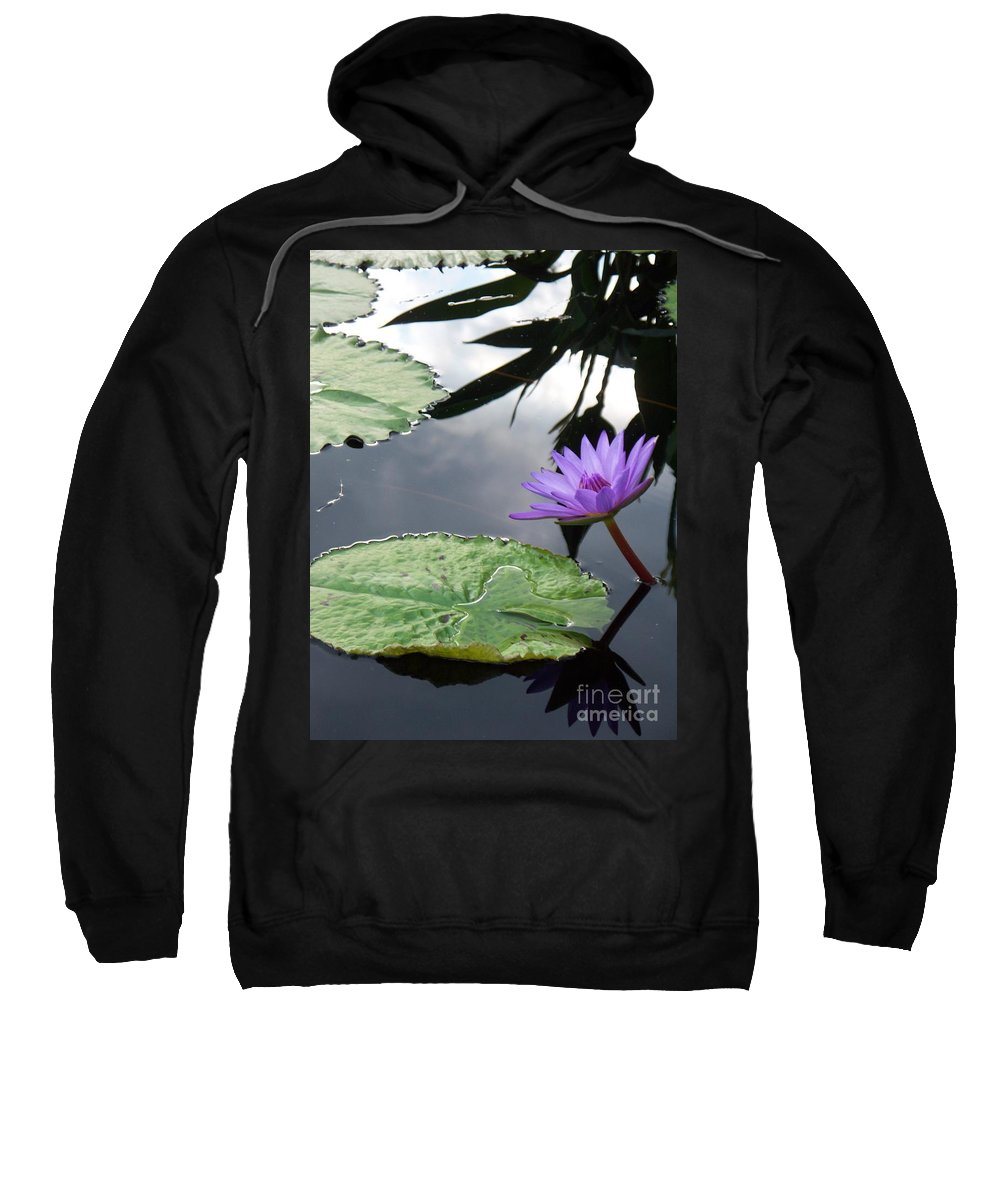 Water Lilies Sweatshirt featuring the photograph Shadows On A Lily Pond by Eric Schiabor