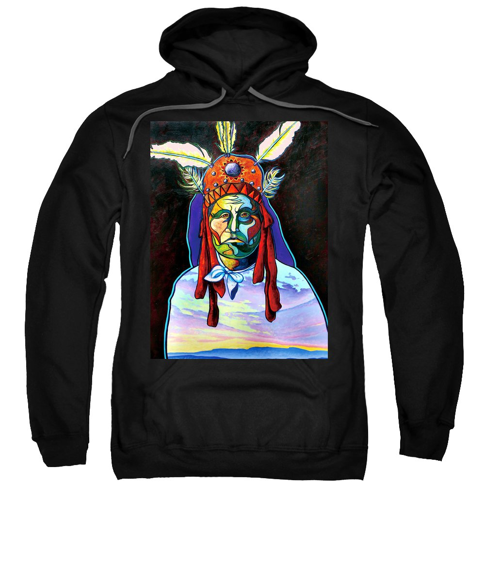 American Indian Sweatshirt featuring the painting Shamans Power by Joe Triano