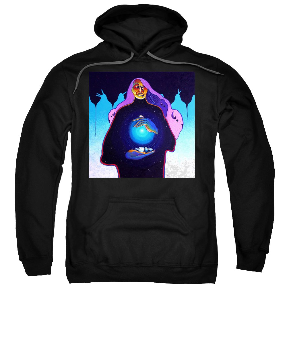 Spiritual Sweatshirt featuring the painting She Carries The Spirit by Joe Triano