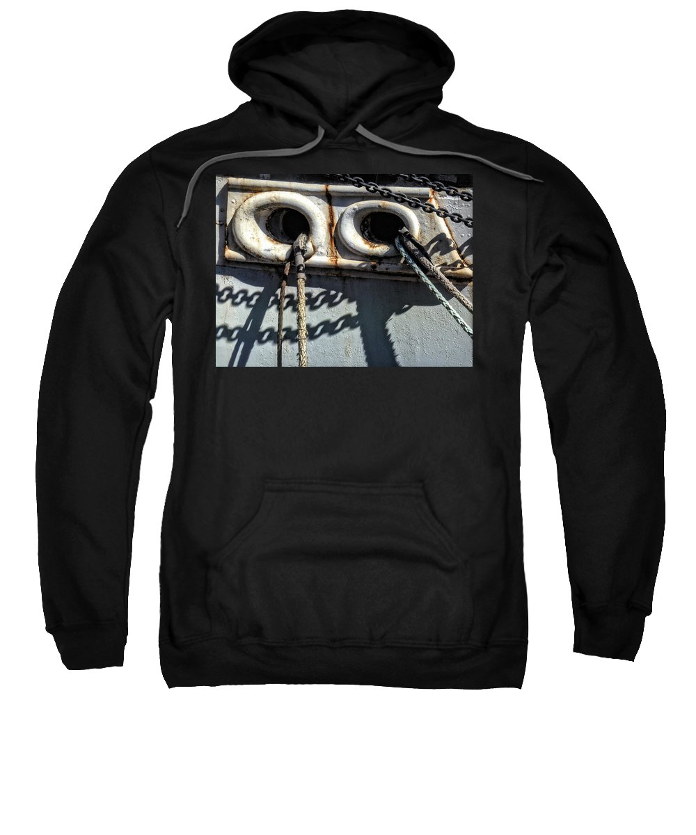 Ship Sweatshirt featuring the photograph Ship Ropes Chains by Joan Reese