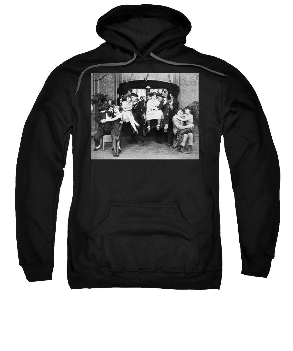 1919 Sweatshirt featuring the photograph Silent Film Still: Parties by Granger