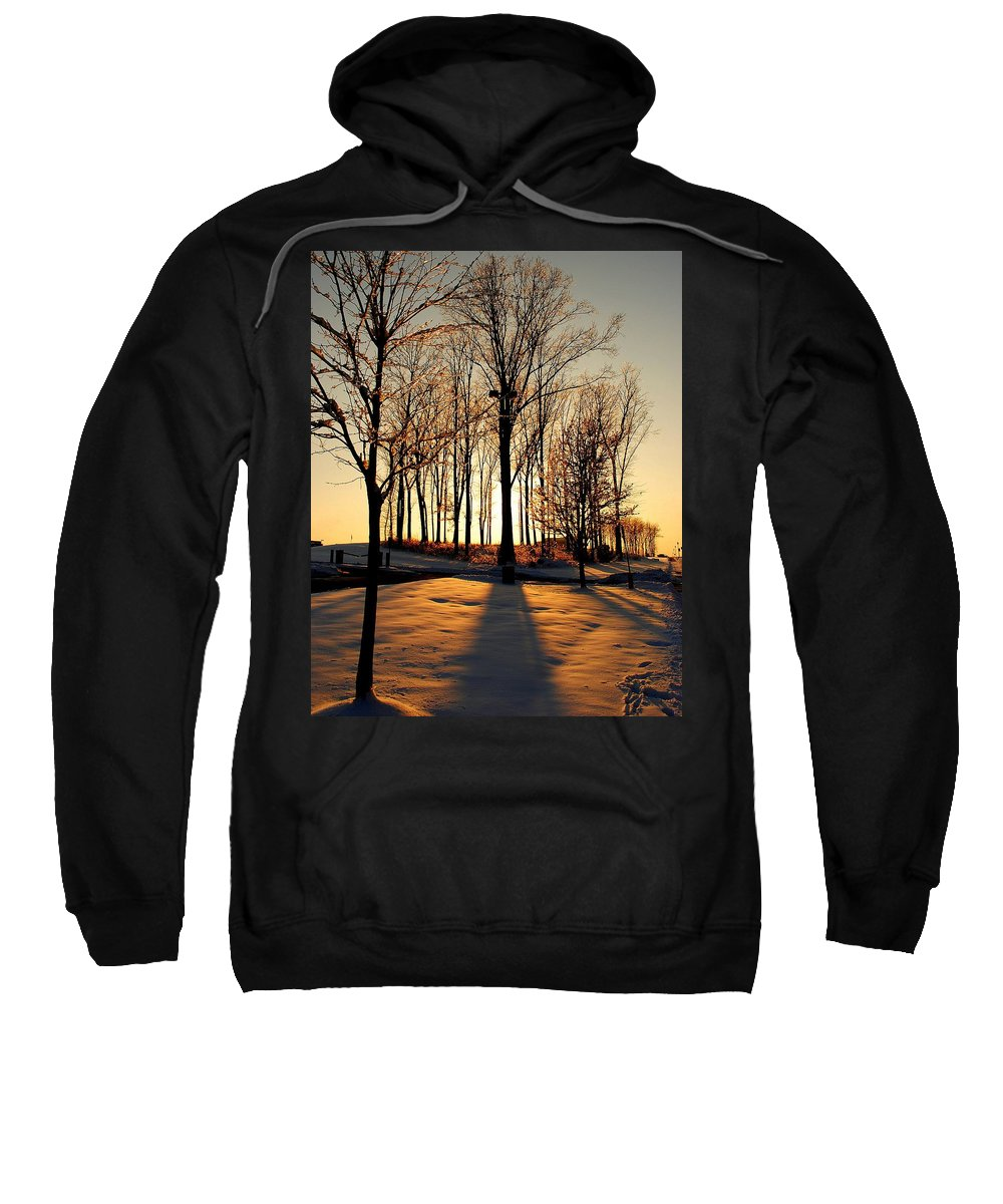Silhouette Sweatshirt featuring the photograph Silhouette Of Trees And Ice by Frozen in Time Fine Art Photography
