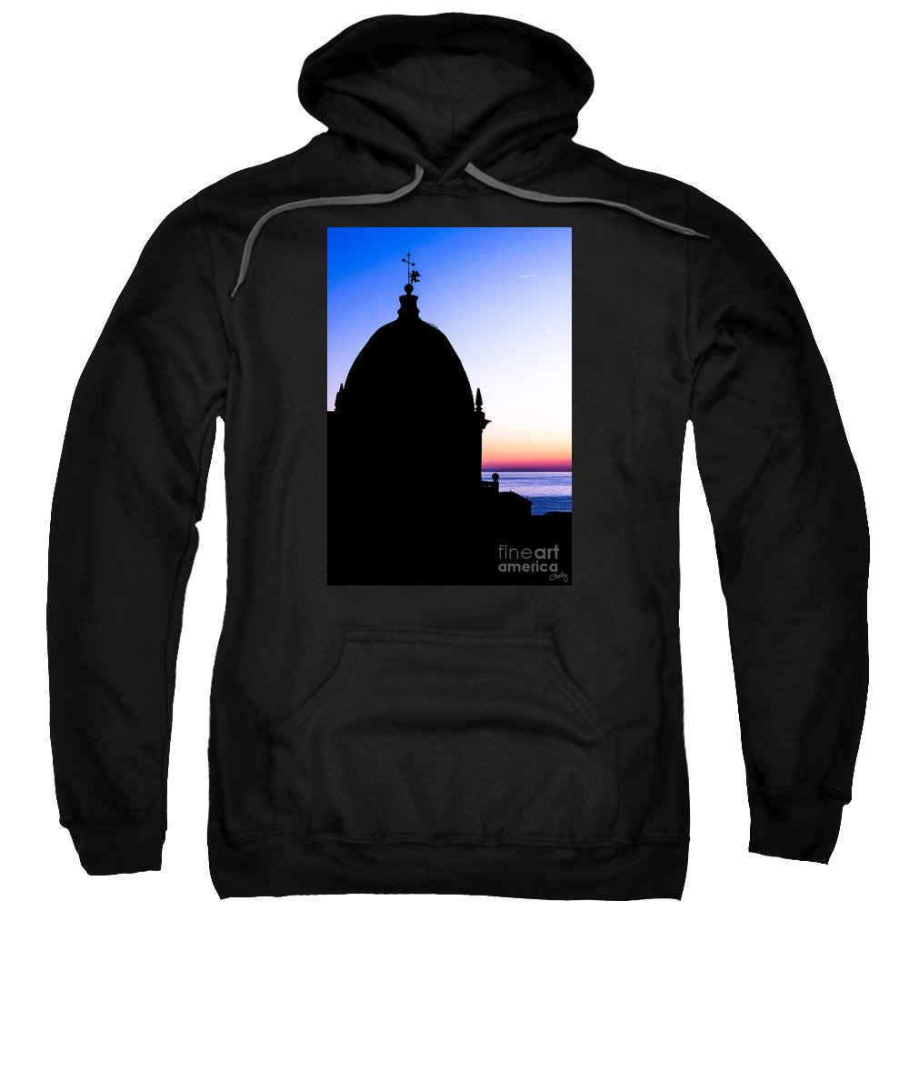 Silhouette Of Vernazza Duomo Sweatshirt featuring the photograph Silhouette Of Vernazza Duomo Dome by Prints of Italy