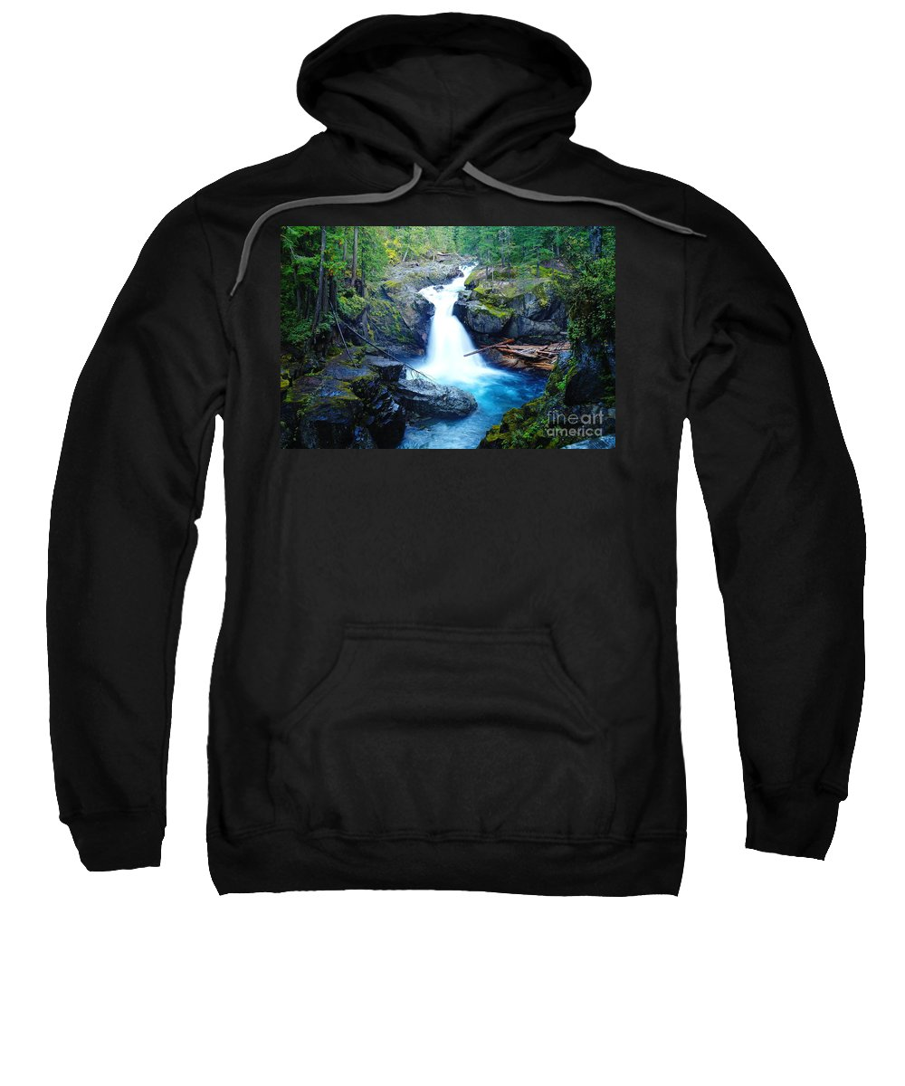 Waterfalls Sweatshirt featuring the photograph Silver Falls by Jeff Swan