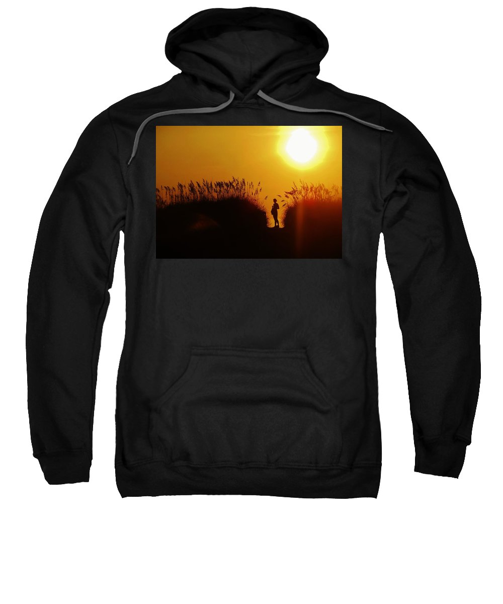 Mark Lemmon Cape Hatteras Nc The Outer Banks Photographer Subjects From Sunrise Sweatshirt featuring the photograph Single Woman Dunes Surise by Mark Lemmon