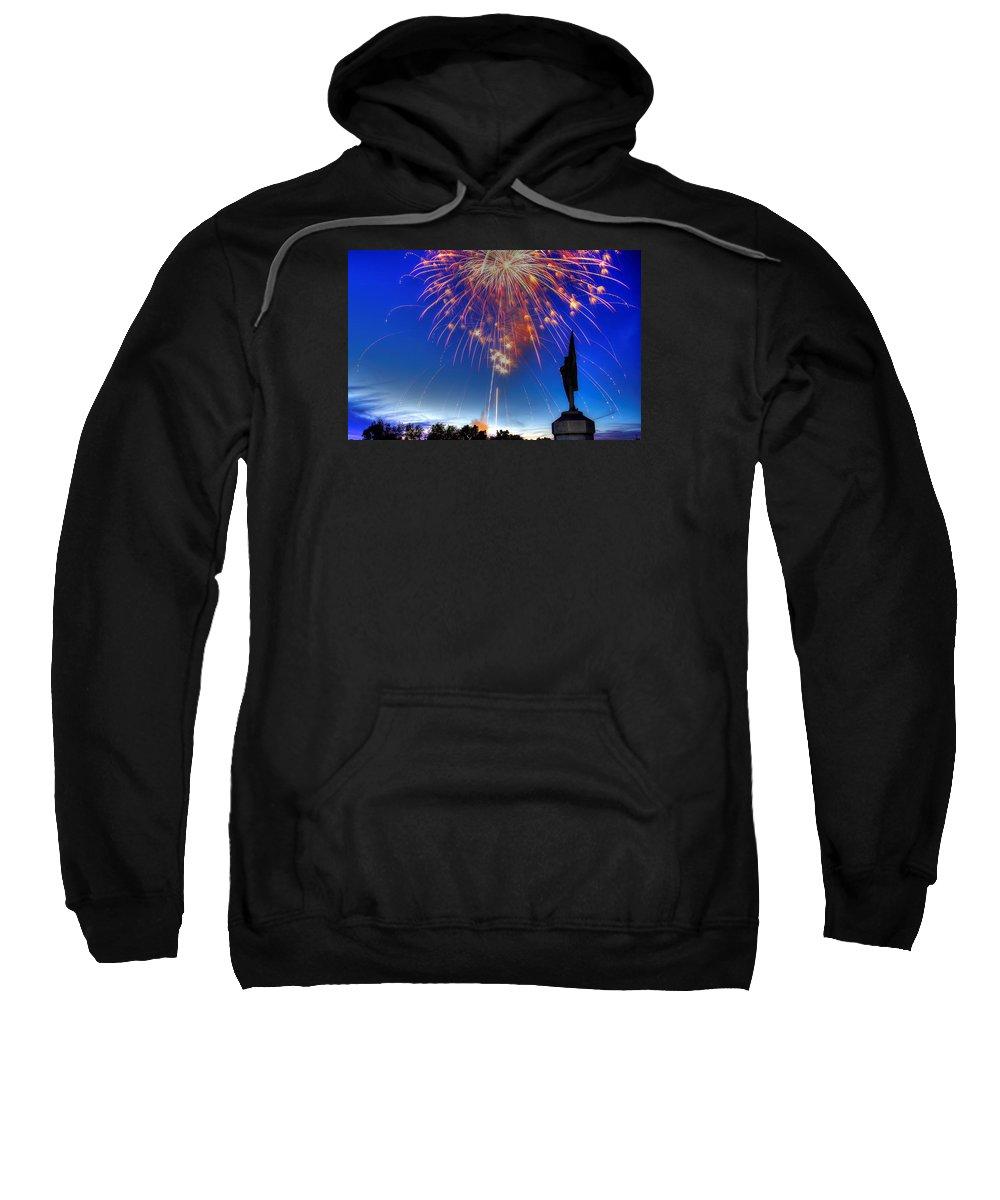 Civil War Sweatshirt featuring the photograph Sky Fire - Pennsylvania At Antietam - 132nd Pa Volunteer Infantry July 4th 2014 - 1b by Michael Mazaika