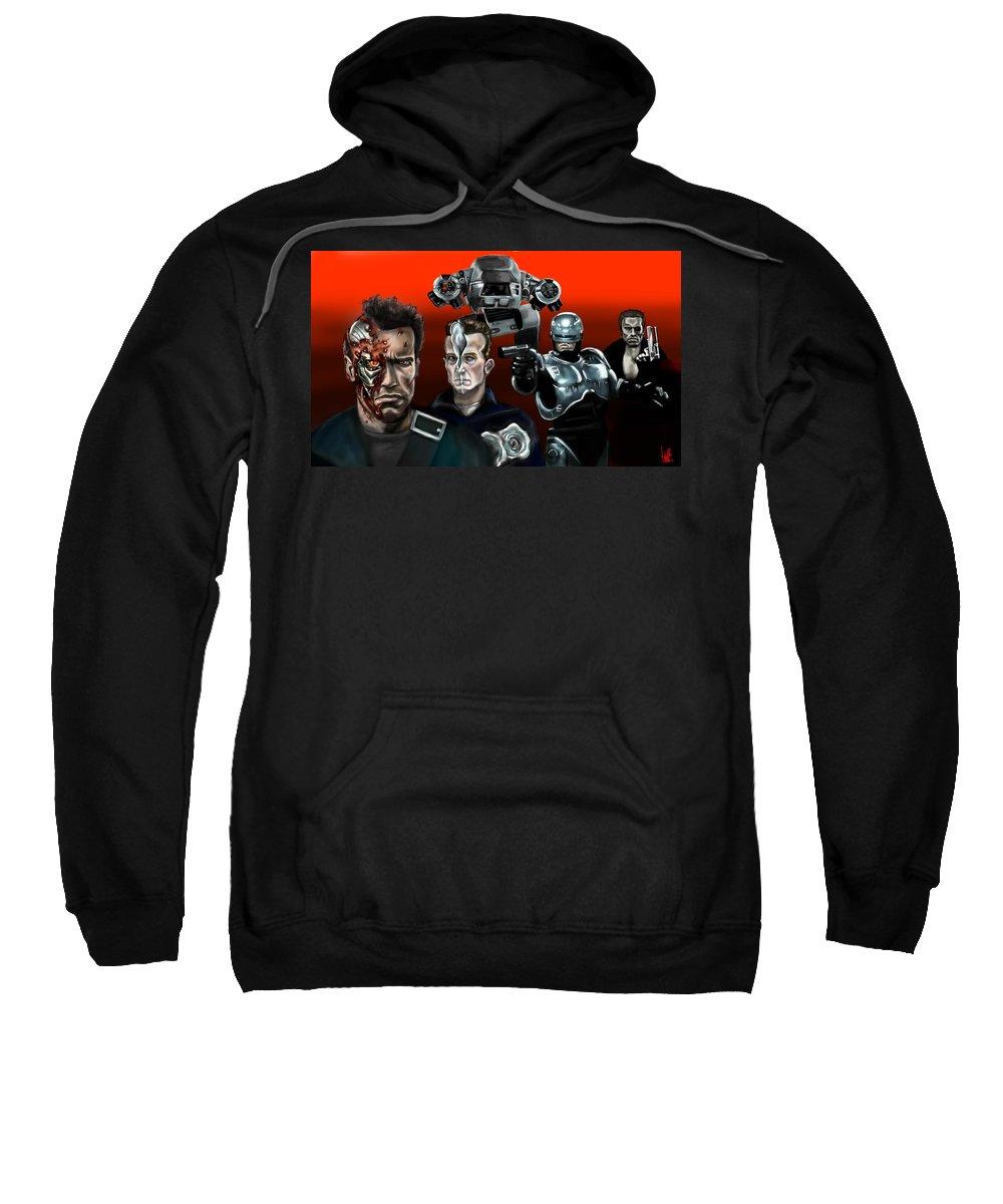 Terminator Sweatshirt featuring the painting Skynet Vs Ocp by Vinny John Usuriello