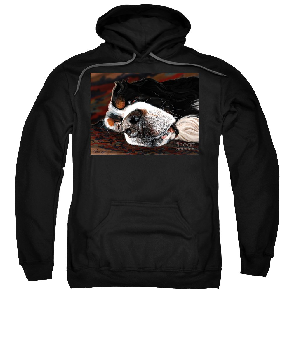 Berner Bernese Mountain Dog Sleeping Drooling Nose Close Up Fast Asleep Happy Dreaming Puppy Rug Snoring Liane Weyers Artist Love Art Painting Whiskers Nostrils Pup Sweatshirt featuring the painting Sleeping Dogs Lie by Liane Weyers