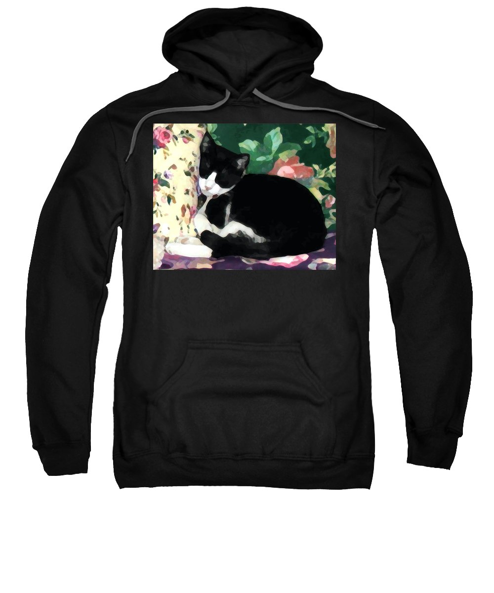 Black And White Sweatshirt featuring the photograph Sleeping Kitty by Jeanne A Martin