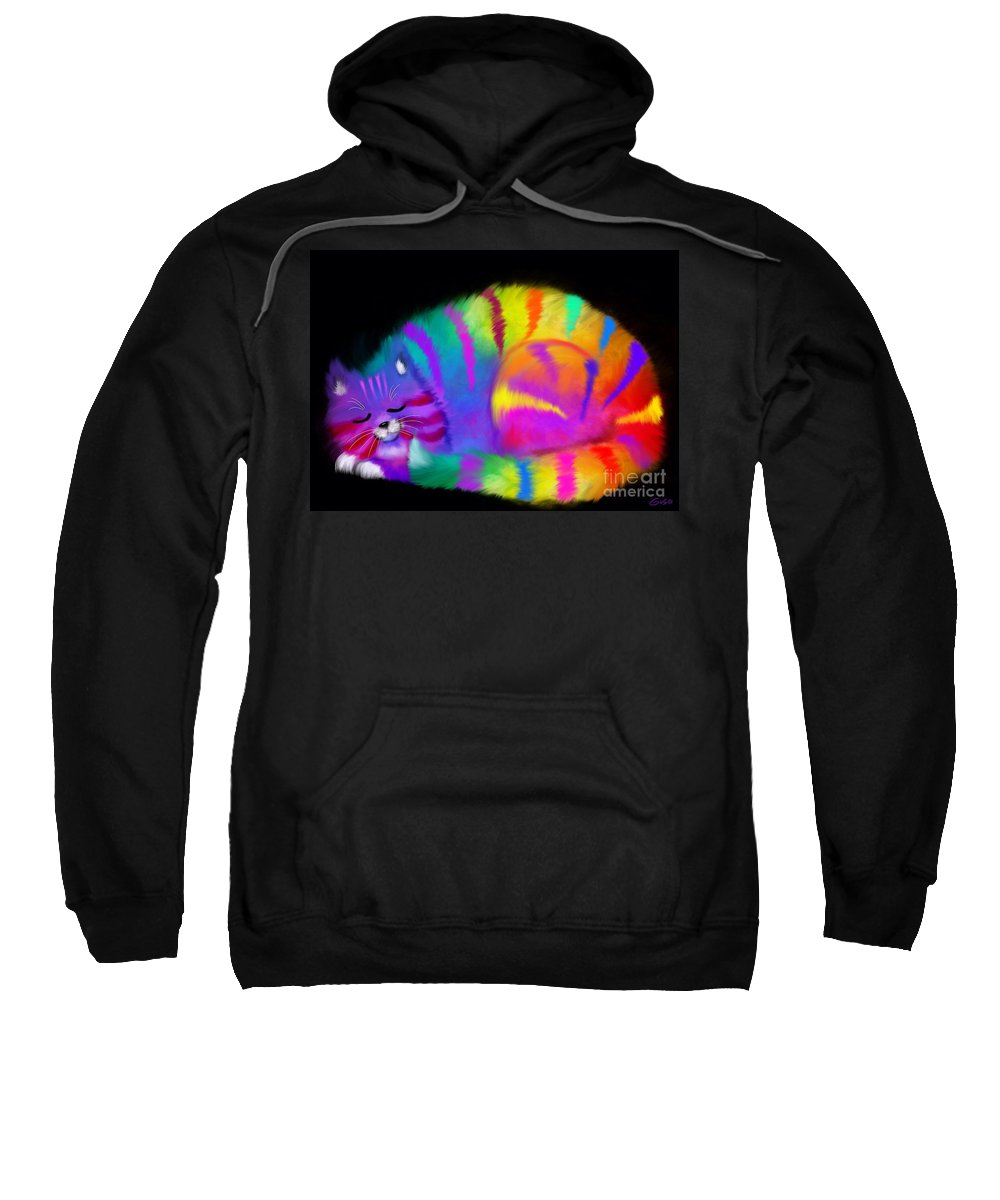 Cat Sweatshirt featuring the painting Sleepy Colorful Cat by Nick Gustafson