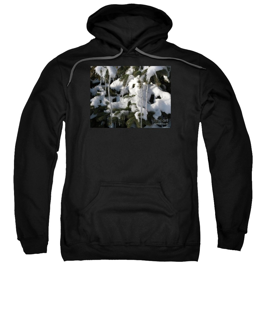 Winter Sweatshirt featuring the photograph Slow Snow Melt by Ann Horn