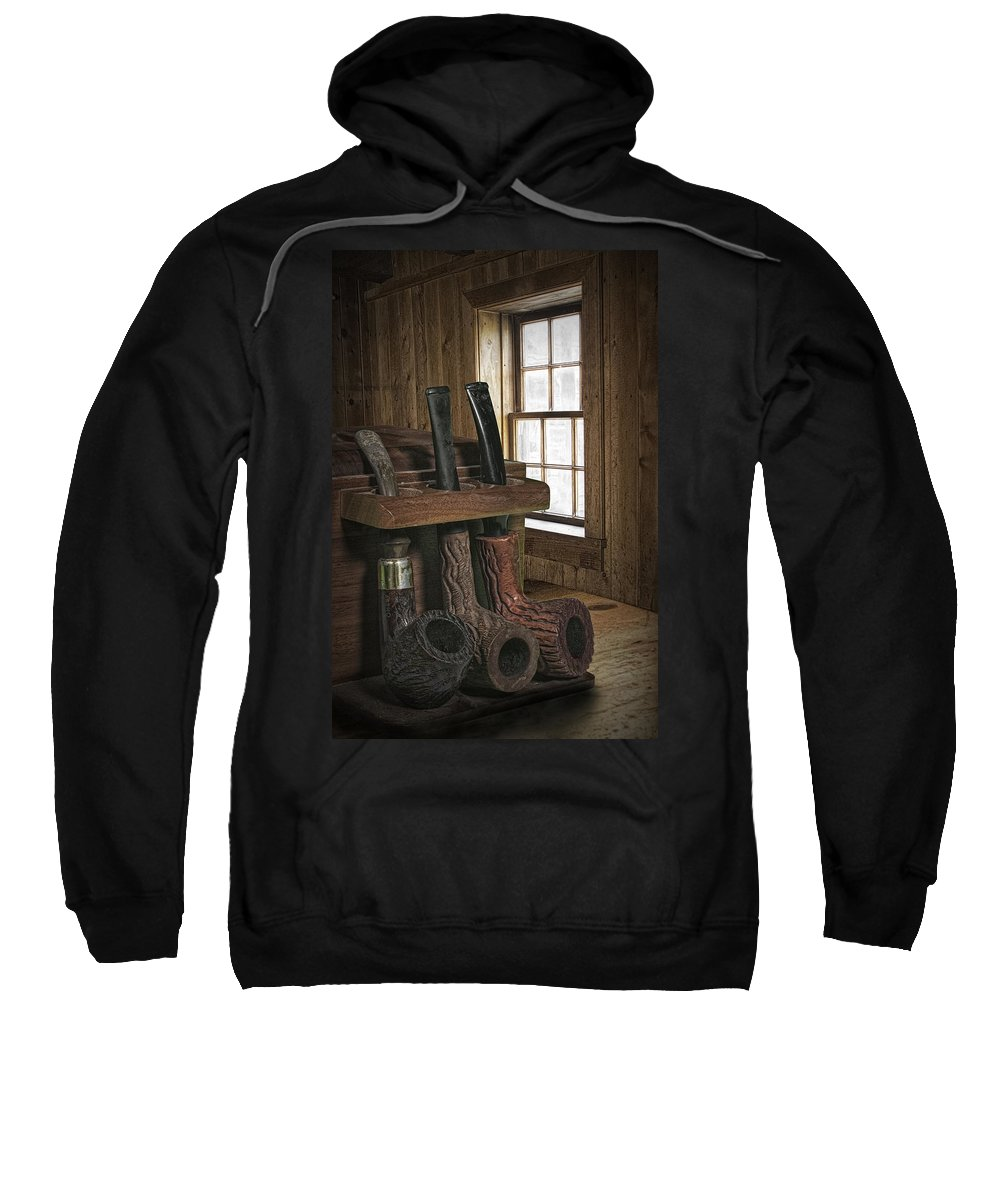 Art Sweatshirt featuring the photograph Smoking Pipes And Pipe Rack by Randall Nyhof