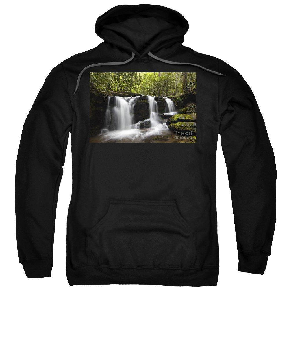 Waterfall Sweatshirt featuring the photograph Smoky Mountain Waterfall - D008427 by Daniel Dempster