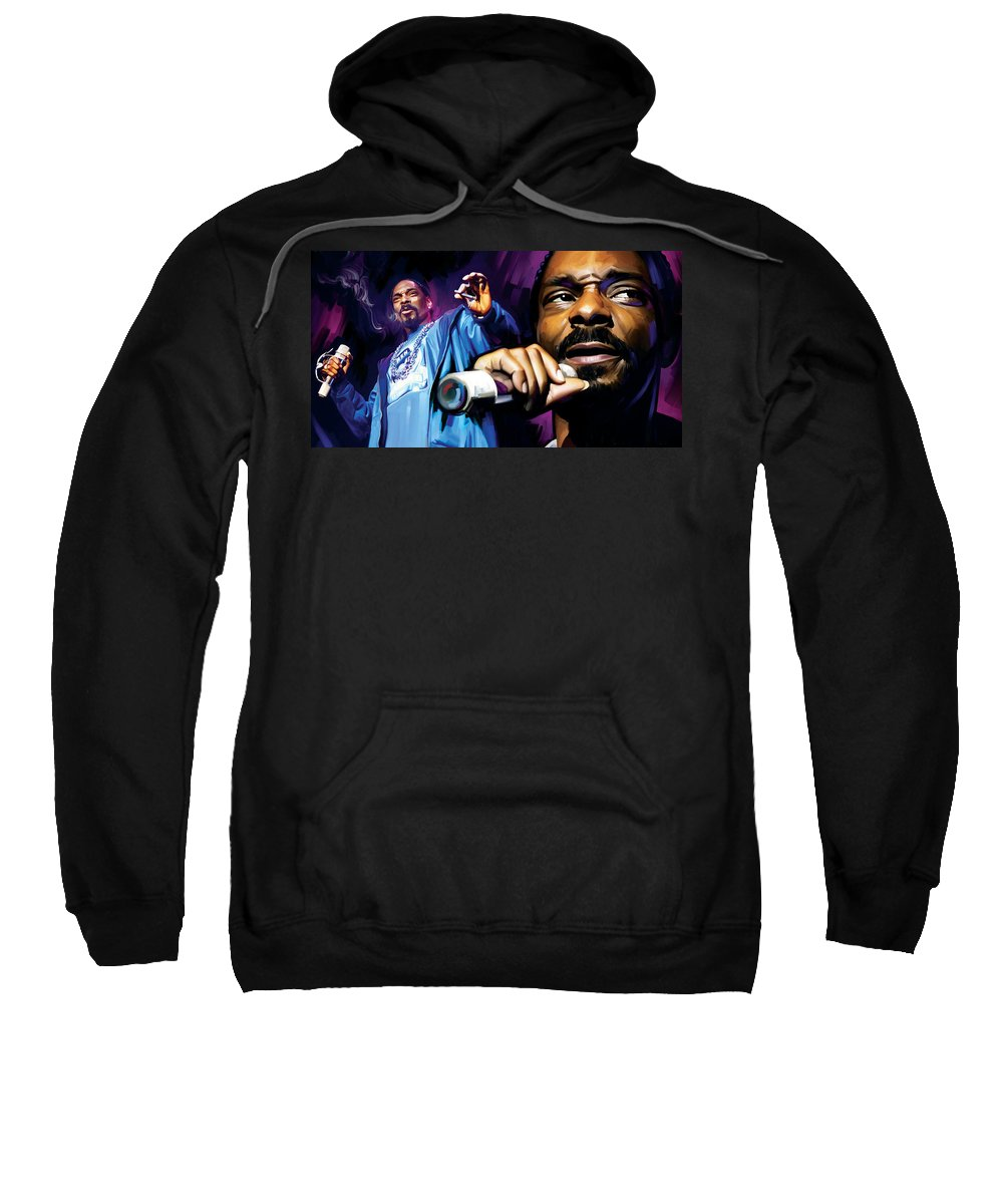 Snoop Dogg Paintings Sweatshirt featuring the mixed media Snoop Dogg Artwork by Sheraz A