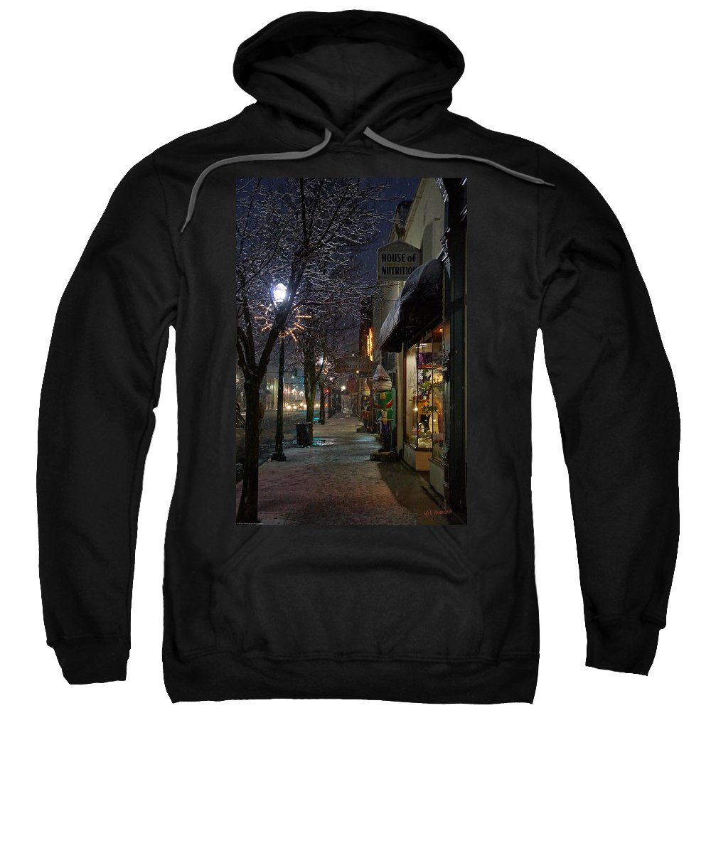 Snow Sweatshirt featuring the photograph Snow On G Street 3 - Old Town Grants Pass by Mick Anderson