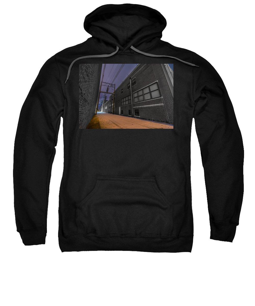 Alley Sweatshirt featuring the photograph Snowlit Alley by Brandon Sullivan