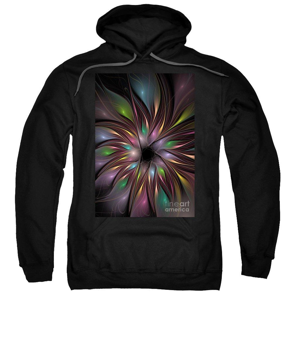 Fractal Sweatshirt featuring the digital art Soft Colors Of The Rainbow by Deborah Benoit