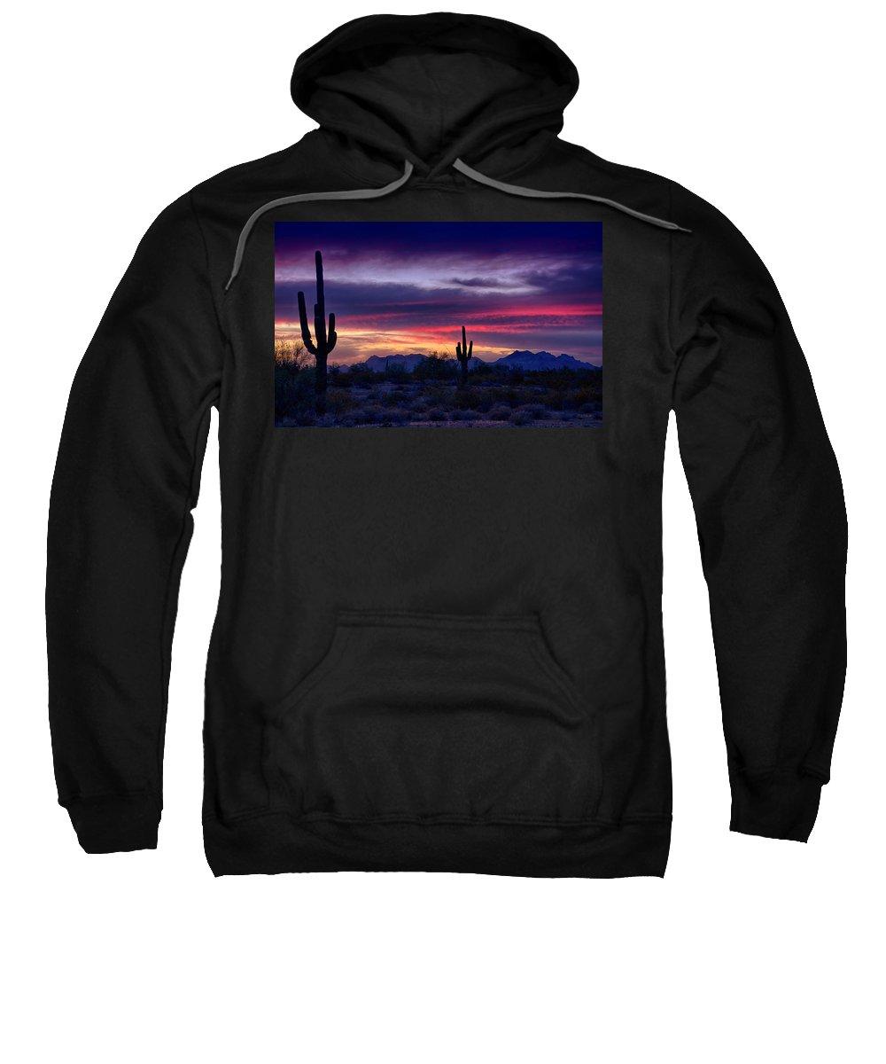 Sunset Sweatshirt featuring the photograph Sonoran Desert Skies by Saija Lehtonen