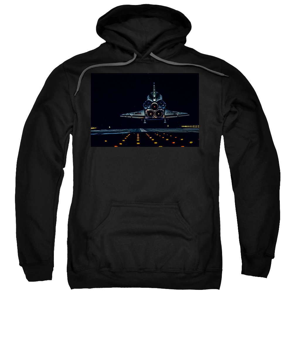 Space Shuttle Sweatshirt featuring the photograph Space Shuttle Night Landing by Chad Rowe