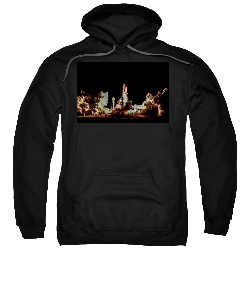 Space Shuttle Sweatshirt featuring the photograph Space Shuttle Night Launch by Chad Rowe