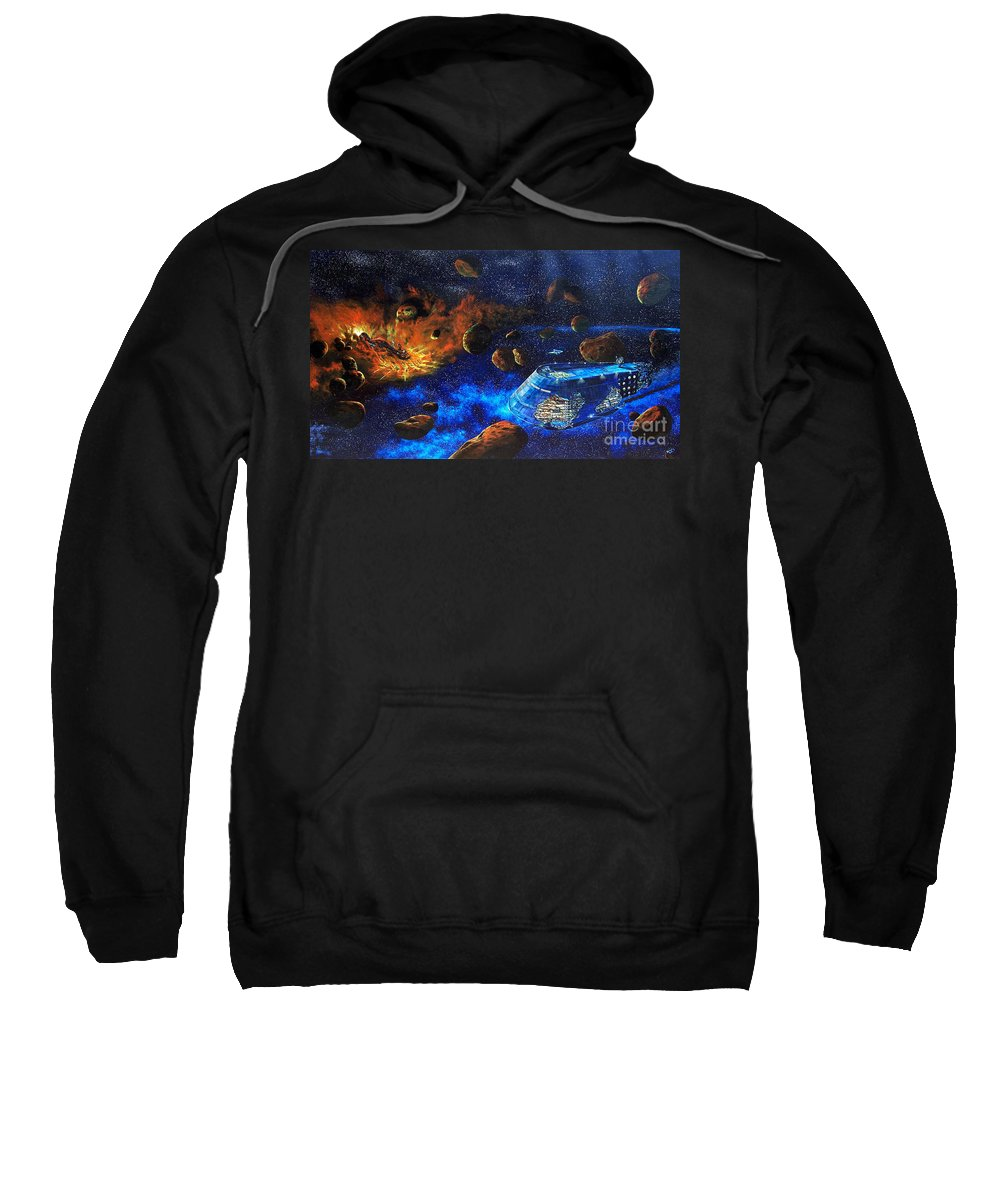 Future Sweatshirt featuring the painting Spaceship Titanic by Murphy Elliott
