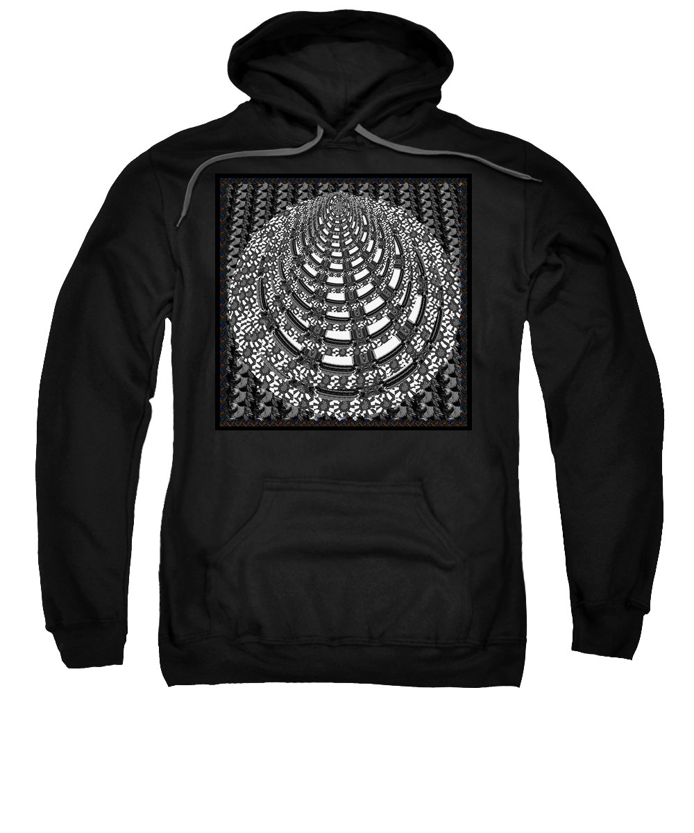 Pyramid Sweatshirt featuring the mixed media Sparkle Bnw White Pyramid Dome Ancient Arch Architecture Formation Obtained During Deep Meditation W by Navin Joshi