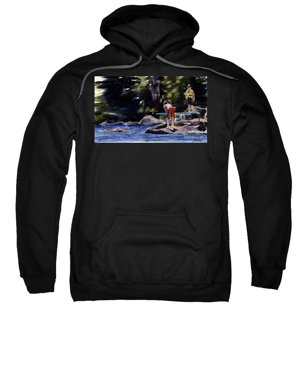Lake Sweatshirt featuring the painting Sparkle Lake by Molly Poole