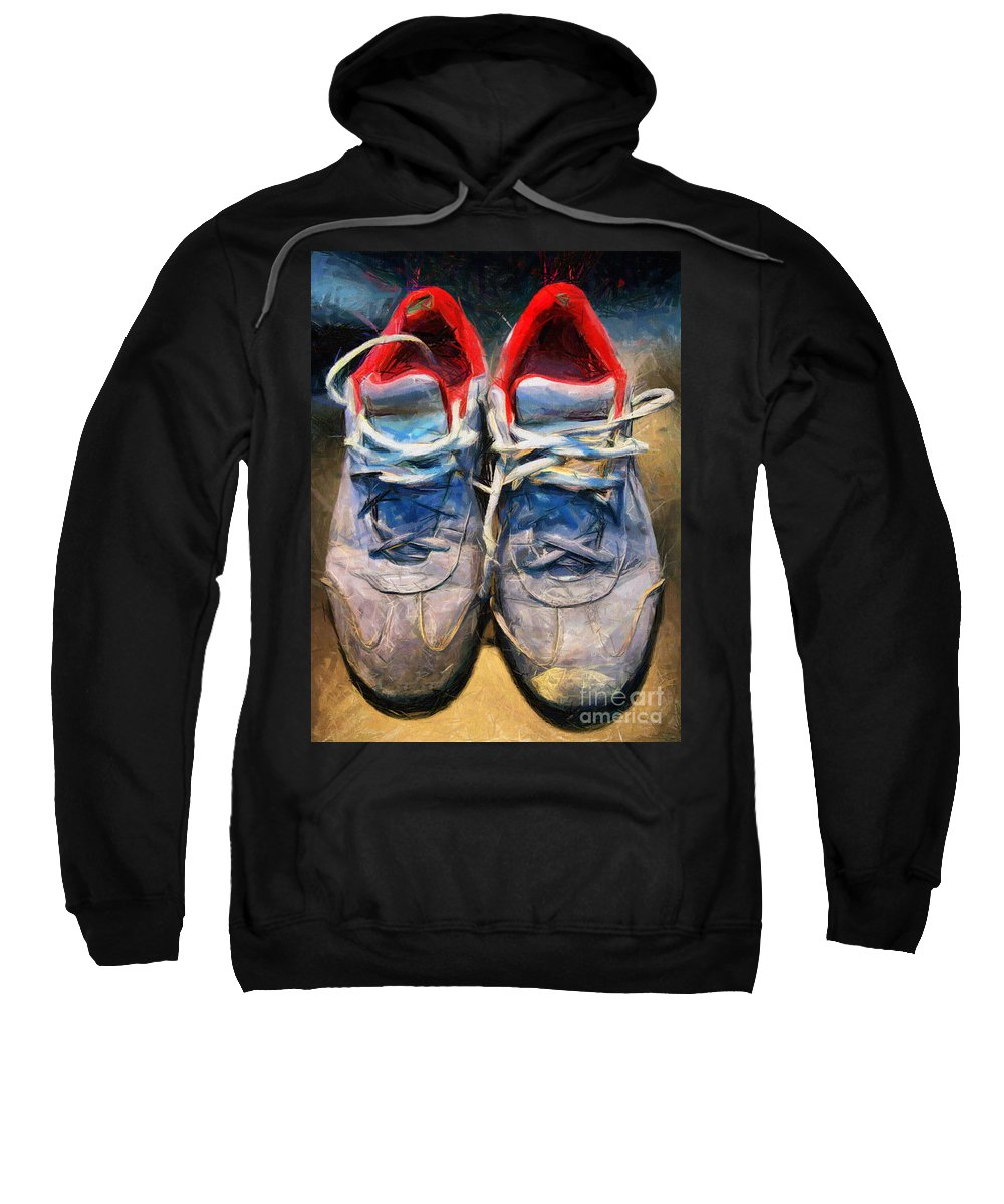 Sport Sweatshirt featuring the mixed media Sport Shoes Drawing by Daliana Pacuraru