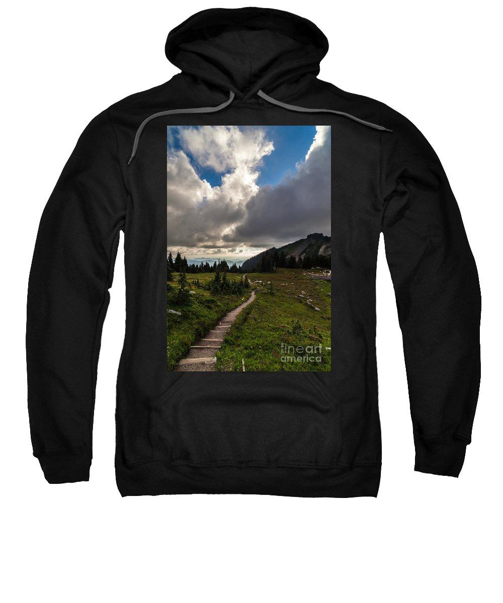 Rainier Sweatshirt featuring the photograph Spray Park Wandering by Mike Reid
