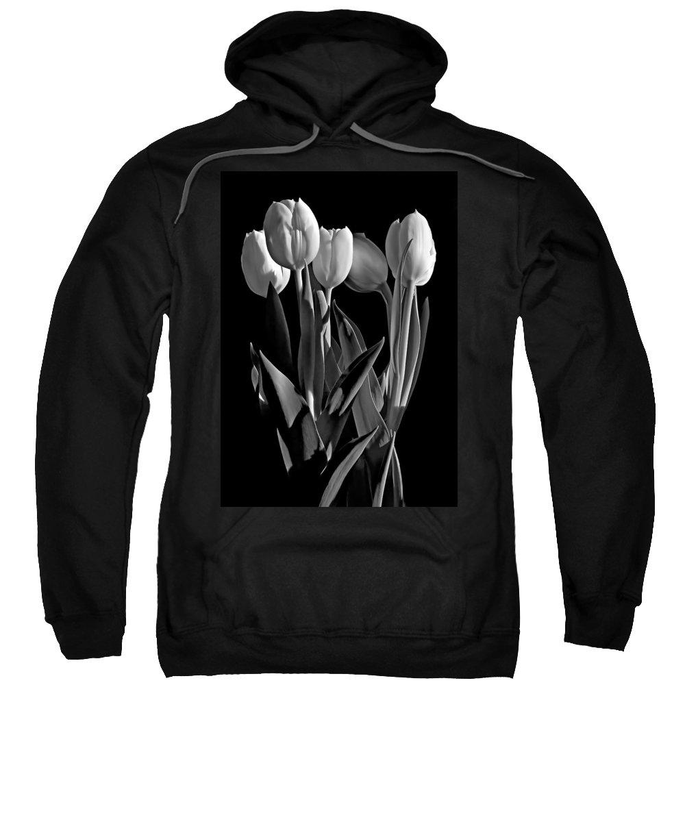 Flower Sweatshirt featuring the photograph Spring Beauties Bw by Steve Harrington