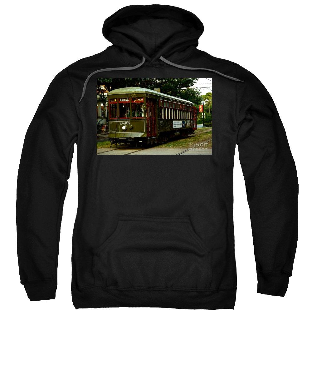 New Orleans Sweatshirt featuring the photograph St. Charles Streetcar by Susie Hoffpauir