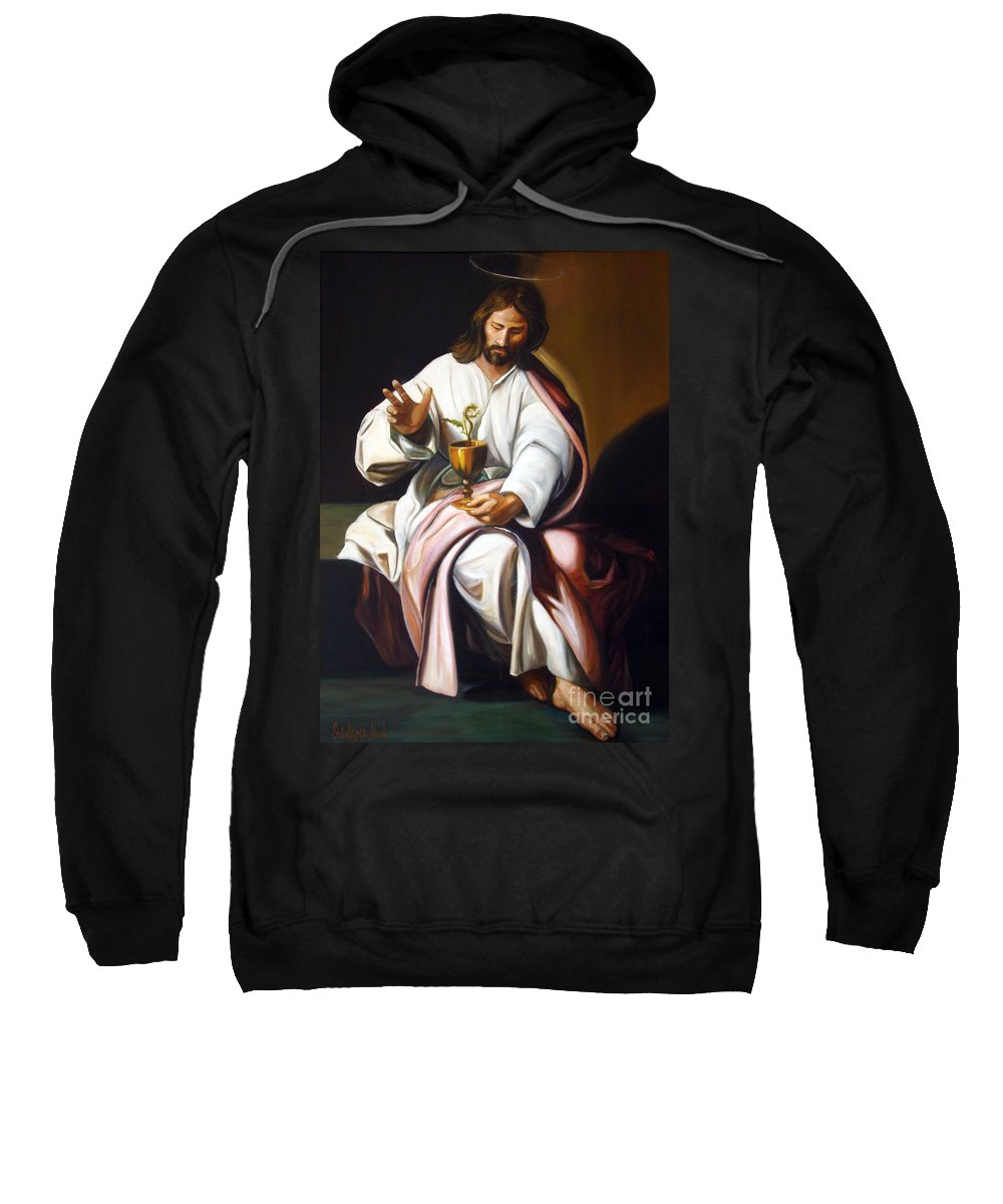 Classic Art Sweatshirt featuring the painting St John The Evangelist by Silvana Abel