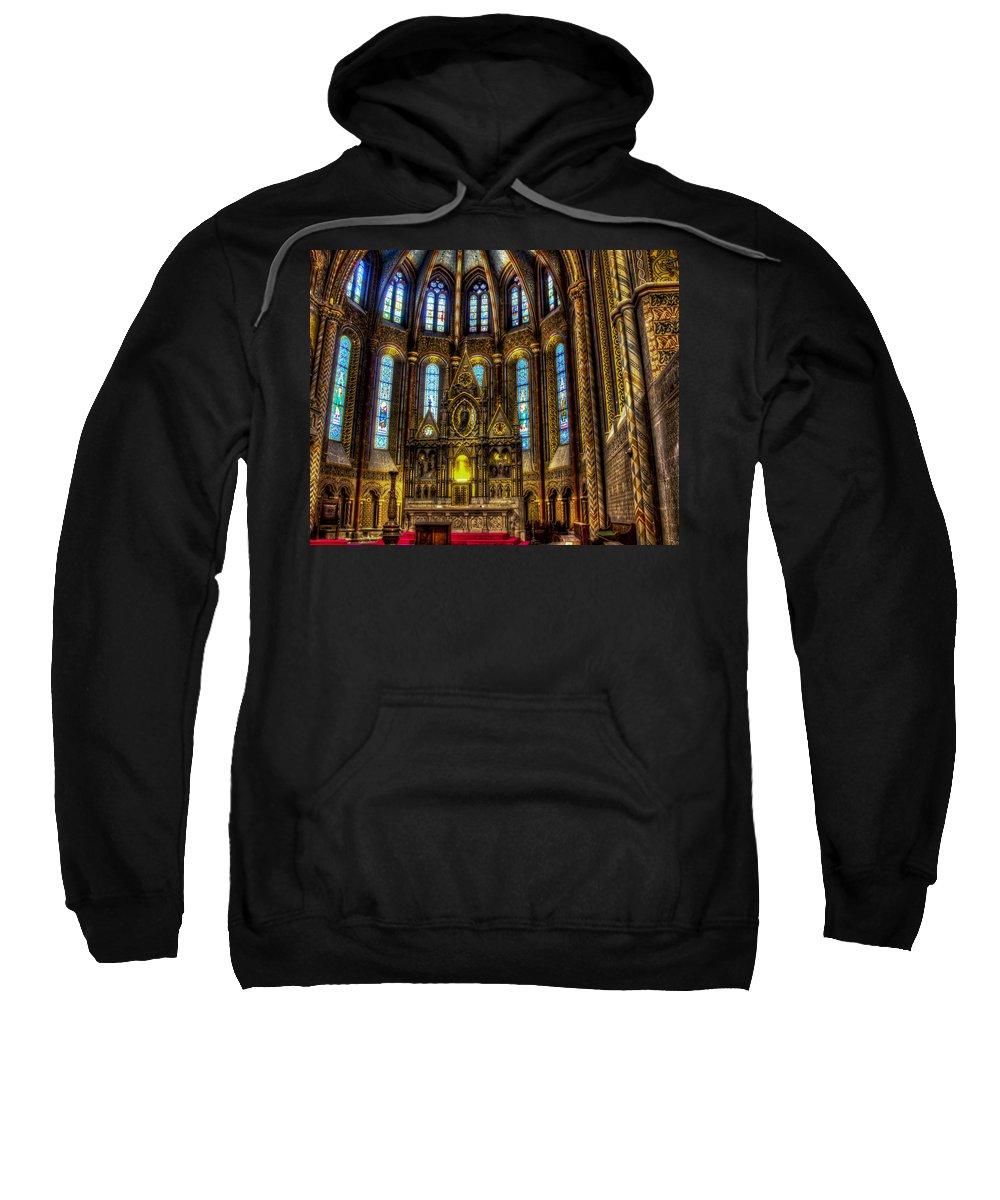 Matthias Church Sweatshirt featuring the photograph St Matthias Church Interior by Jon Berghoff