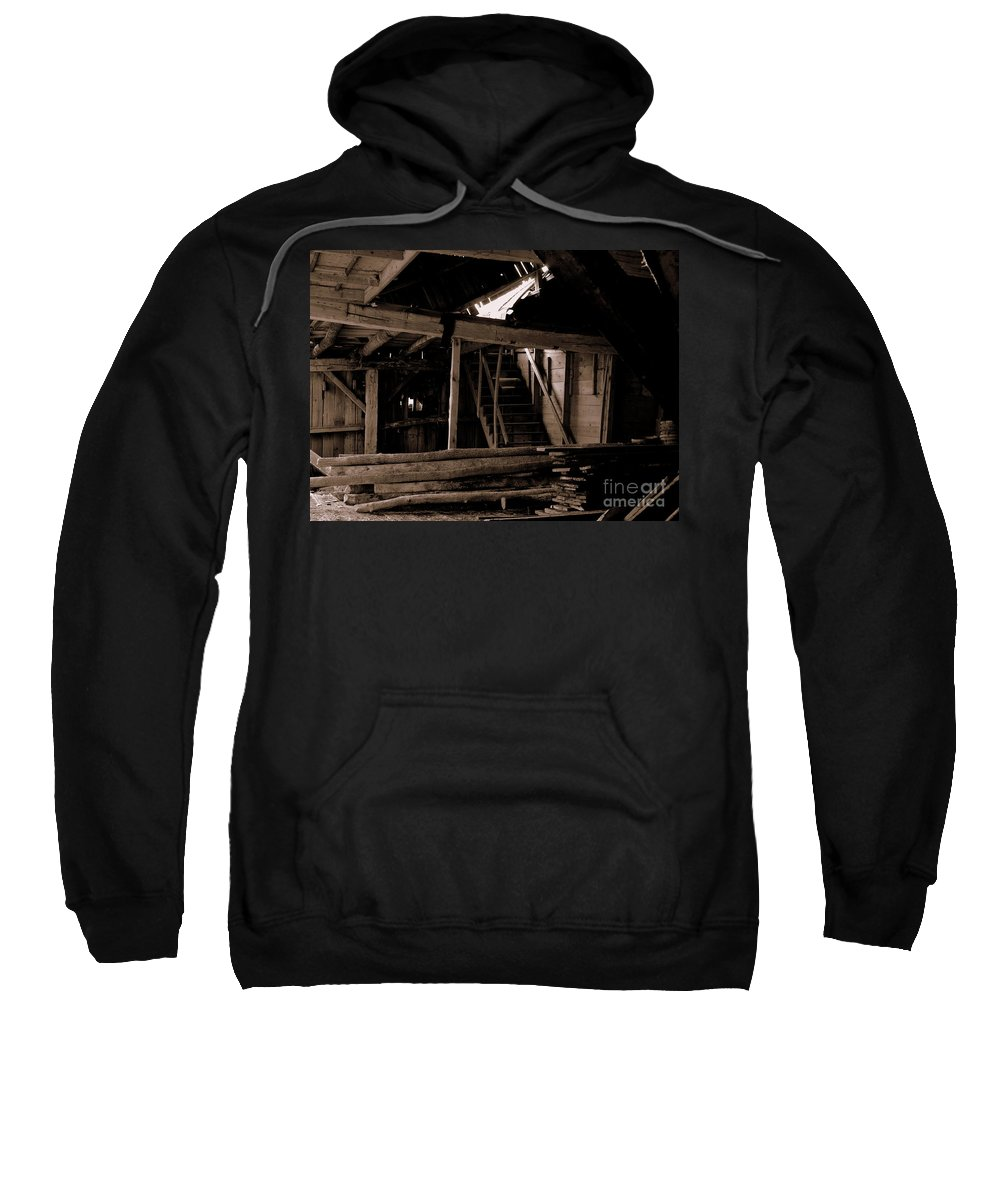 Inside Falling Down Barn Sweatshirt featuring the photograph Stairway To The Sky by Kitrina Arbuckle