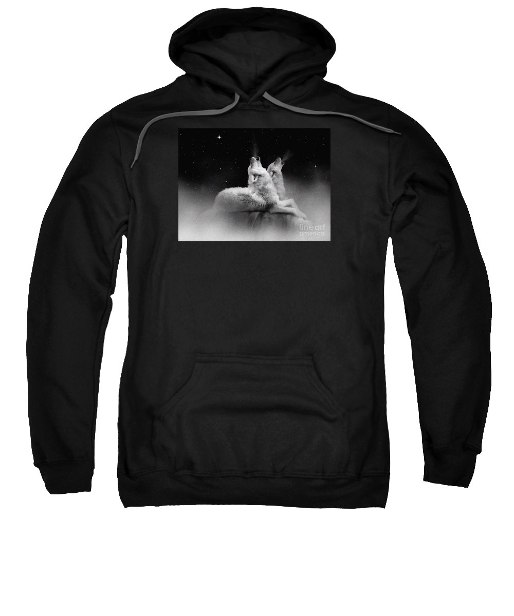 Wolf Sweatshirt featuring the painting Star Talkers by Robert Foster