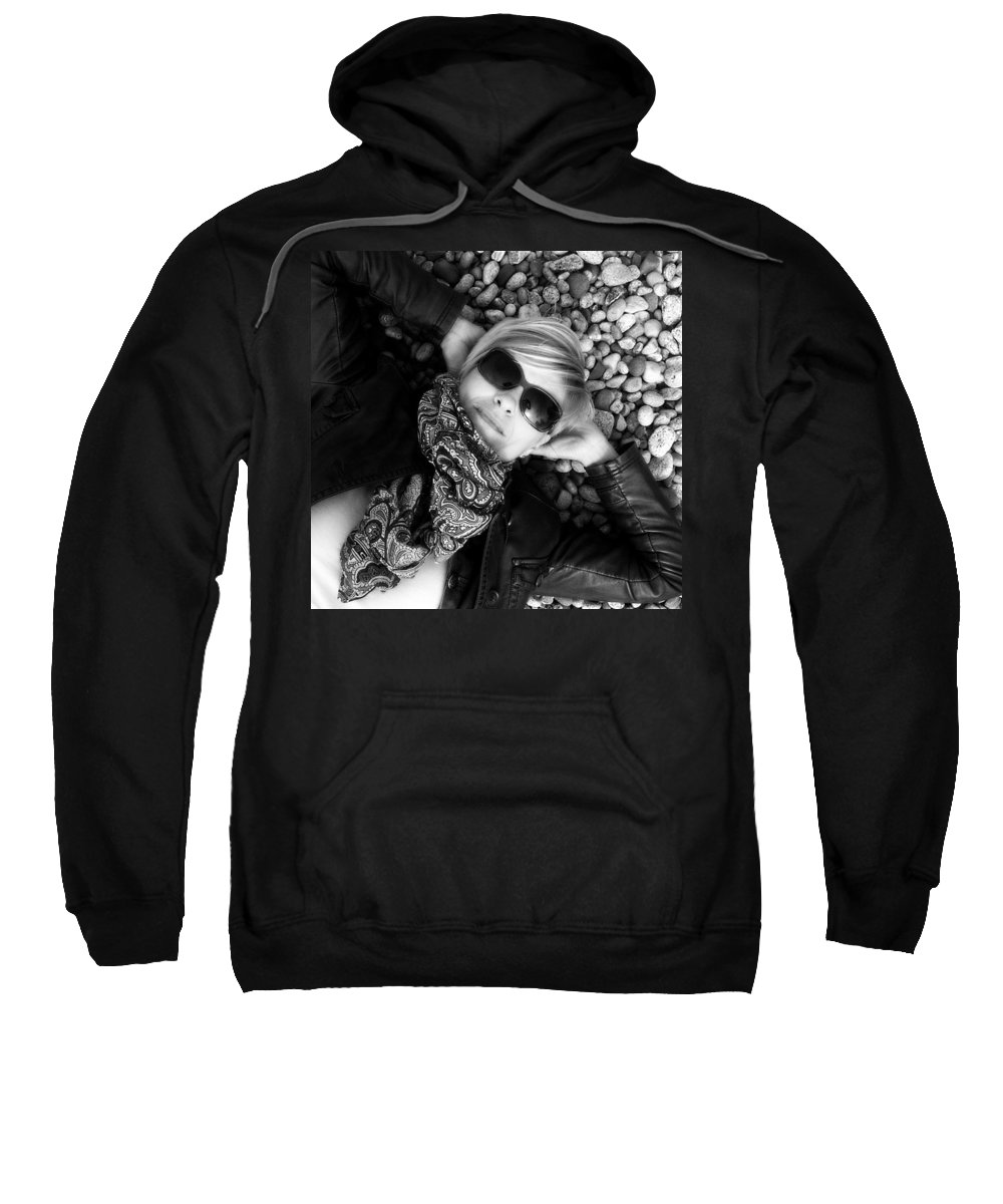 Pebbles Sweatshirt featuring the photograph Stargazing At Noon Bw by Tim Beebe