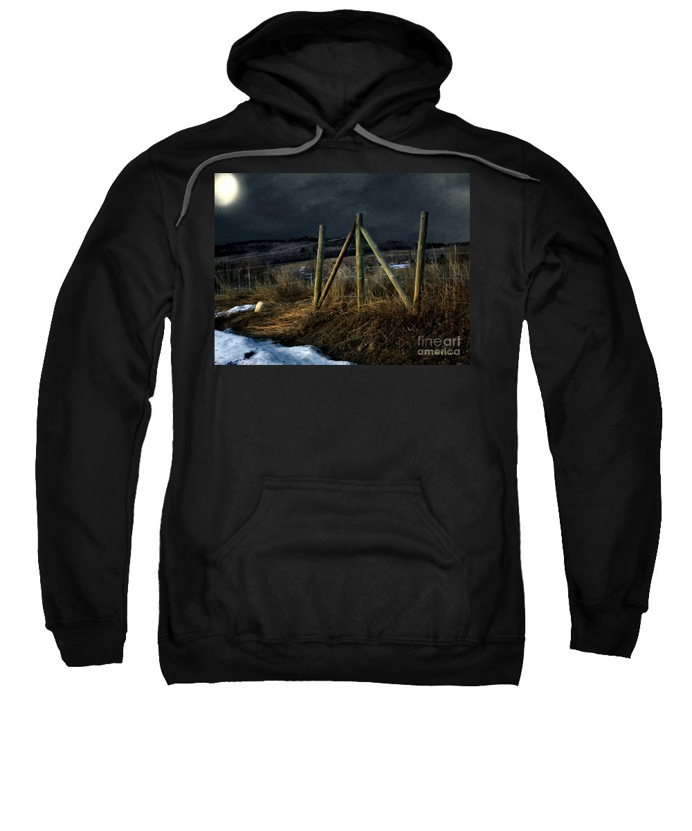 Fence Sweatshirt featuring the painting Starless Canadian Sky by RC DeWinter