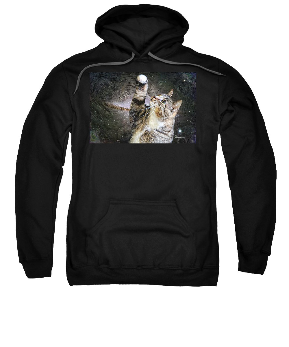 Cat Sweatshirt featuring the photograph Starry Night Kitty Style - Featured In Comfortable Art Group by Ericamaxine Price