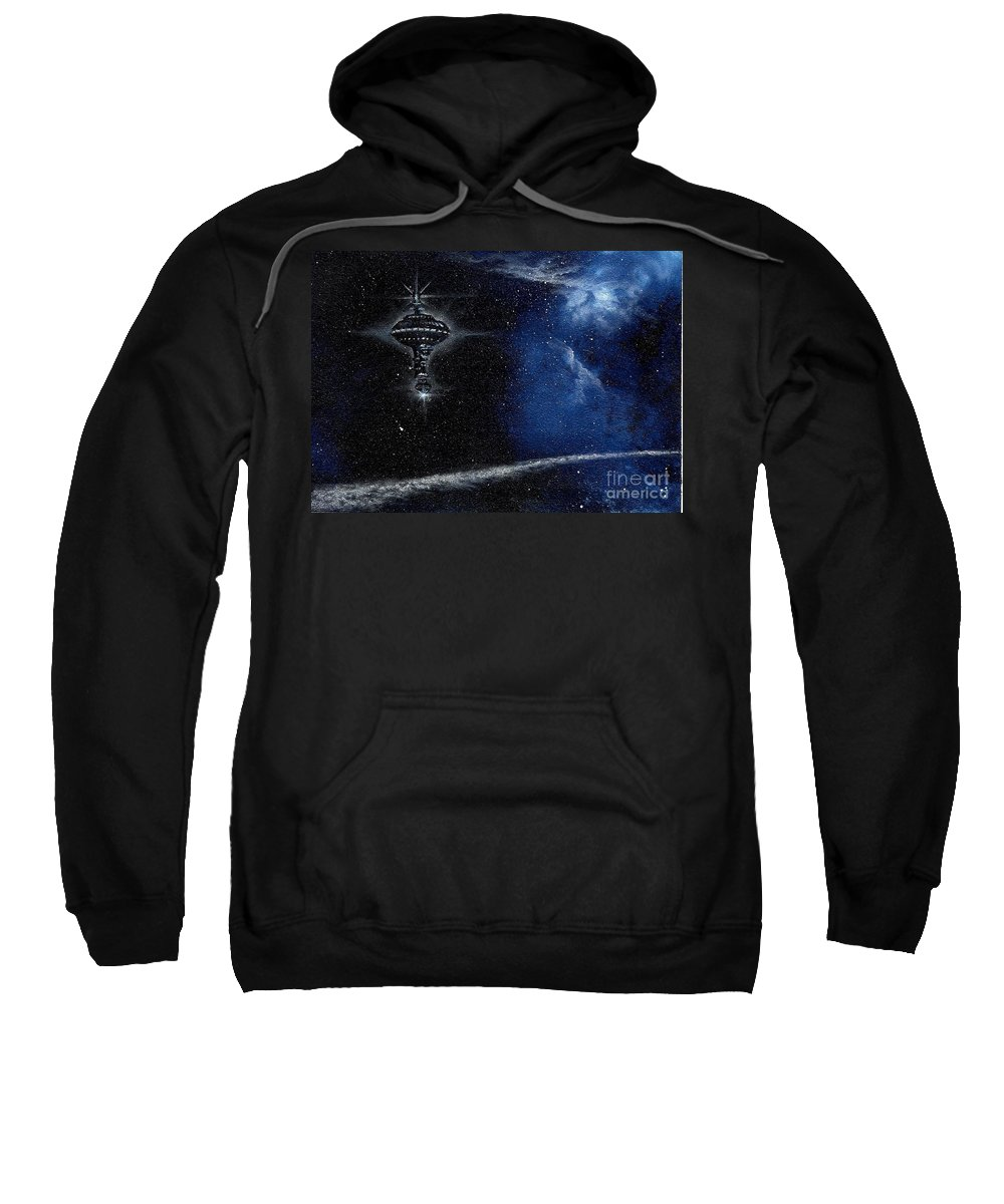Cosmic Art Sweatshirt featuring the painting Station In The Stars by Murphy Elliott