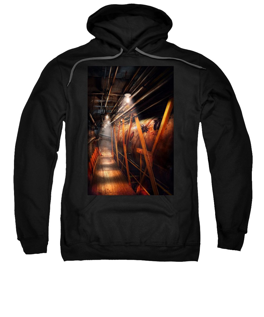 Plumber Sweatshirt featuring the photograph Steampunk - Plumbing - The Hallway by Mike Savad