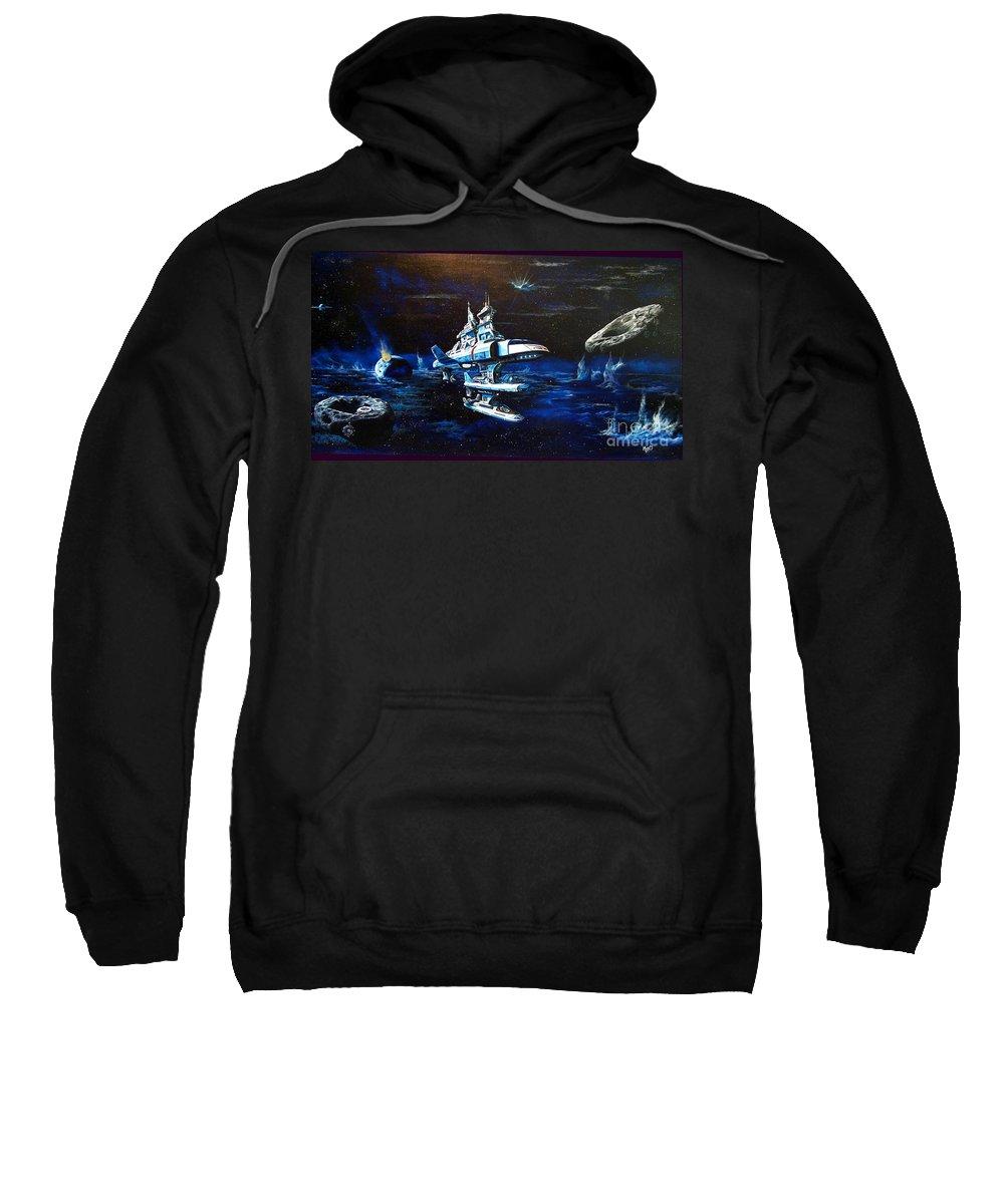 Alien Sweatshirt featuring the painting Stellar Cruiser by Murphy Elliott