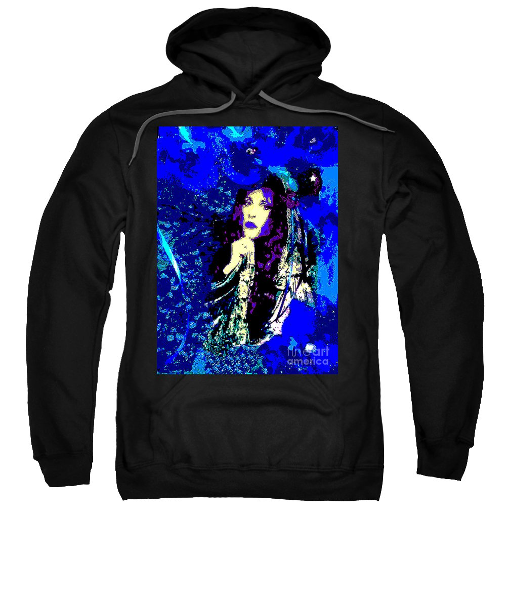 Stevie Sweatshirt featuring the digital art Stevie Nicks In Blue by Alys Caviness-Gober