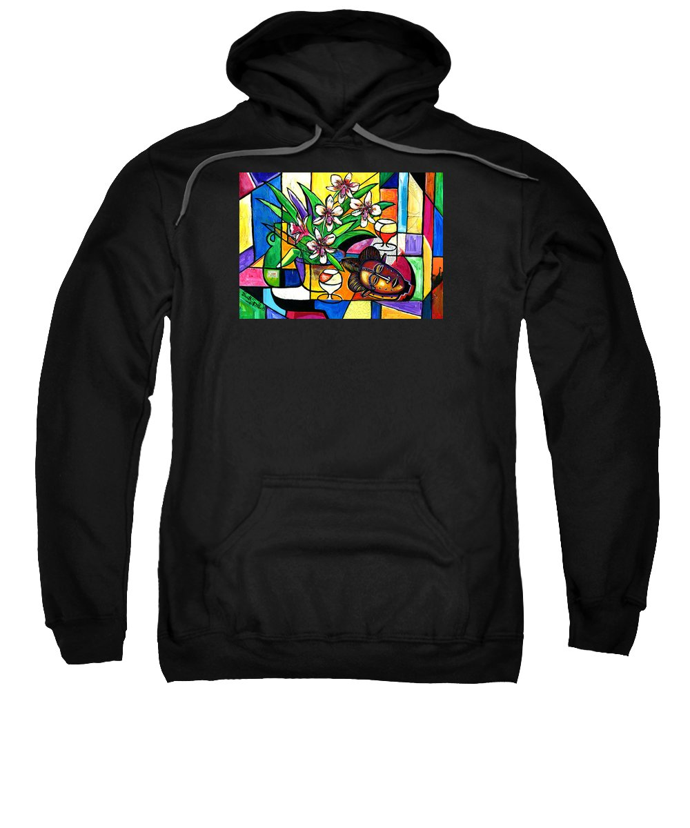 Everett Spruill Sweatshirt featuring the painting Still LIfe with Orchids and African Mask by Everett Spruill