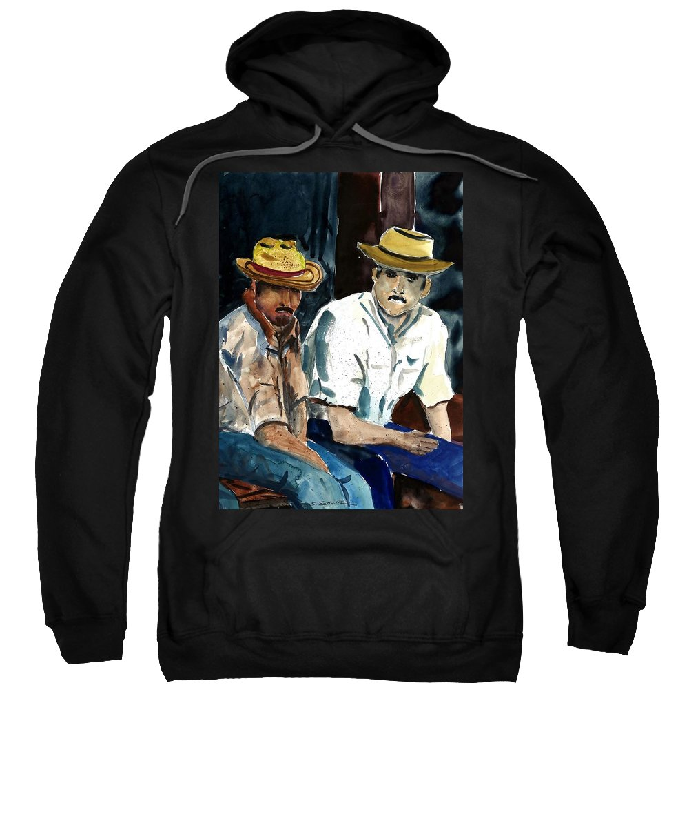 People Sweatshirt featuring the painting Still Waiting by Steven Schultz
