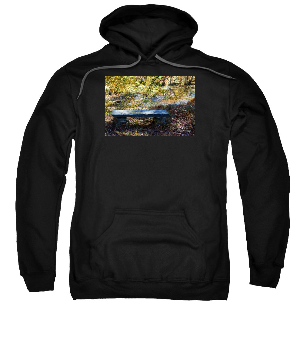 Nature Sweatshirt featuring the photograph Stone Bench by Robin Lynne Schwind
