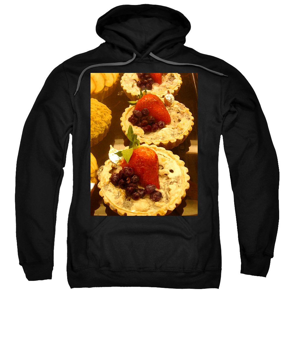 Food Sweatshirt featuring the painting Strawberry Blueberry Tarts by Amy Vangsgard