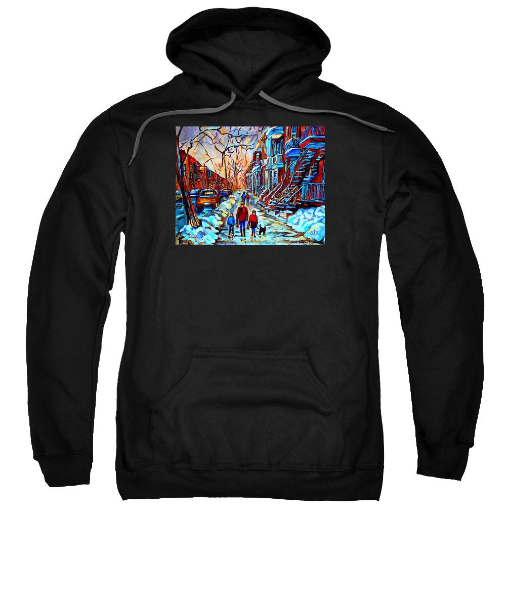 Montreal Sweatshirt featuring the painting Streets Of Montreal by Carole Spandau