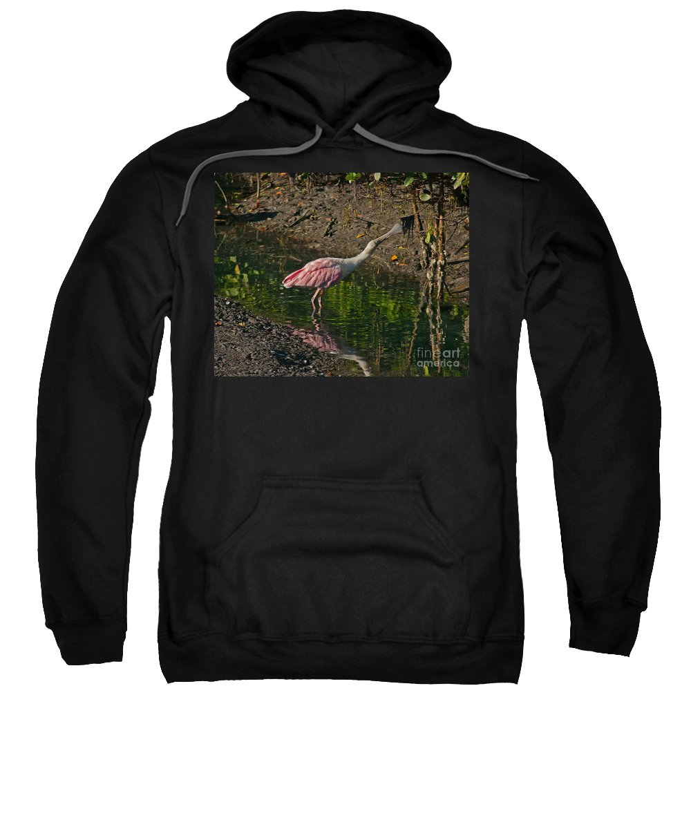 Spoonbill Sweatshirt featuring the photograph Stretched Out Pink Spoonbill by Stephen Whalen